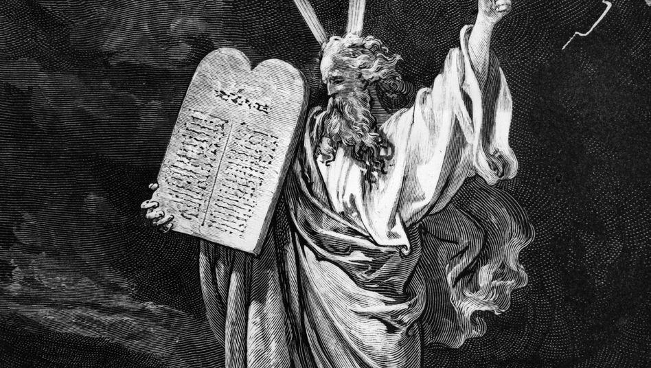 Moses mit den Zehn Geboten: Gewinnende Moral der Verlierer