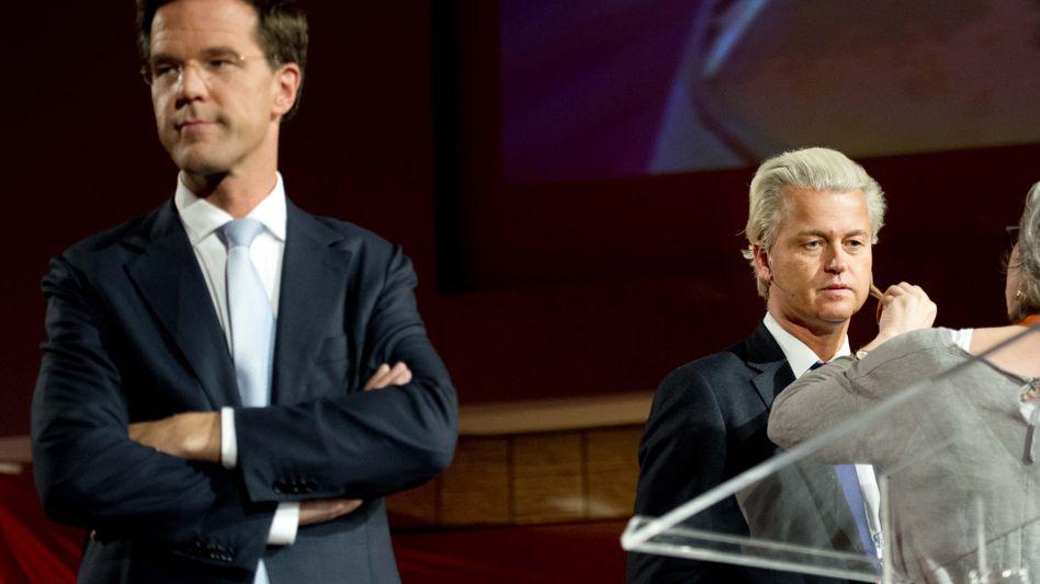 Der niederländische Premier Mark Rutte (l.), Rechtspopulist Geert Wilders