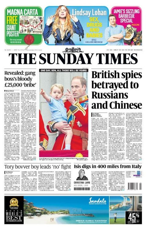 EINMALIGE VERWENDUNG The Sunday Times COVER