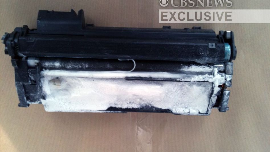 German officials failed to screen the package containing this explosives-laden printer toner cartridge
