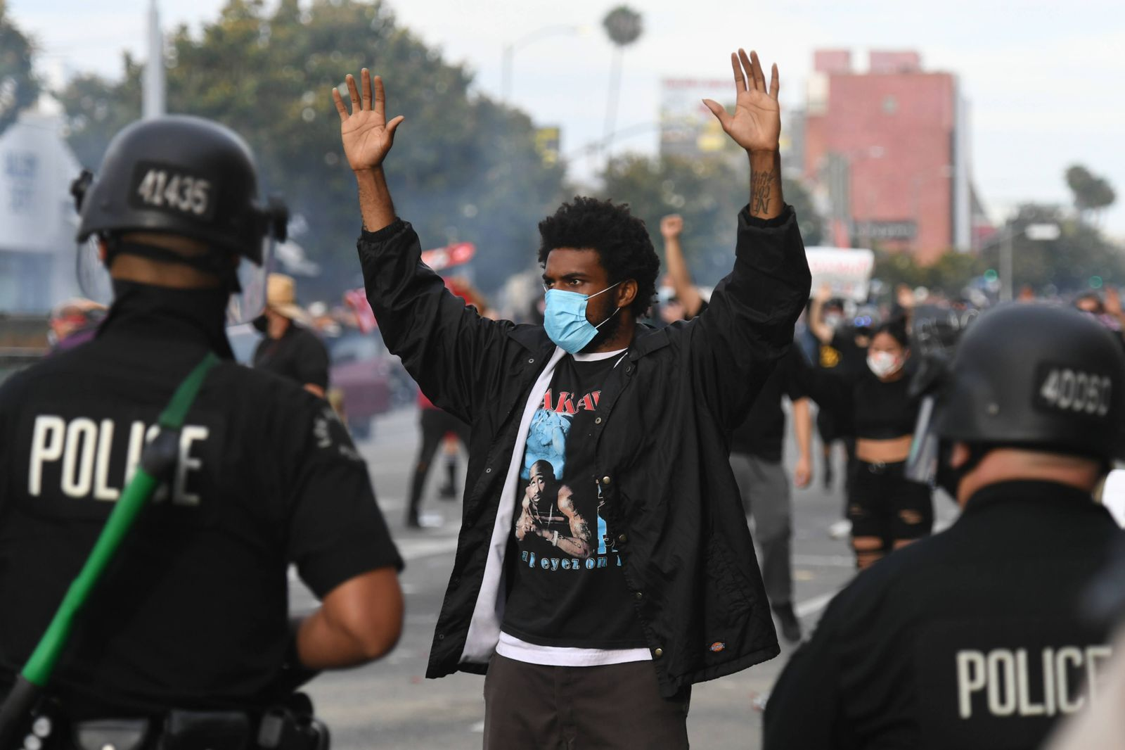 May 30, 2020, Los Angeles, California, USA: Protestors face off with police at Beverly near the Grove in Los Angeles, S
