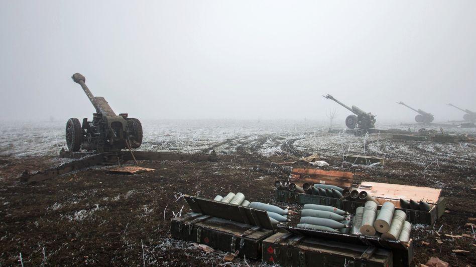 Artillerie-Stellungen der Separatisten vor Debalzewe: Harte Kämpfe