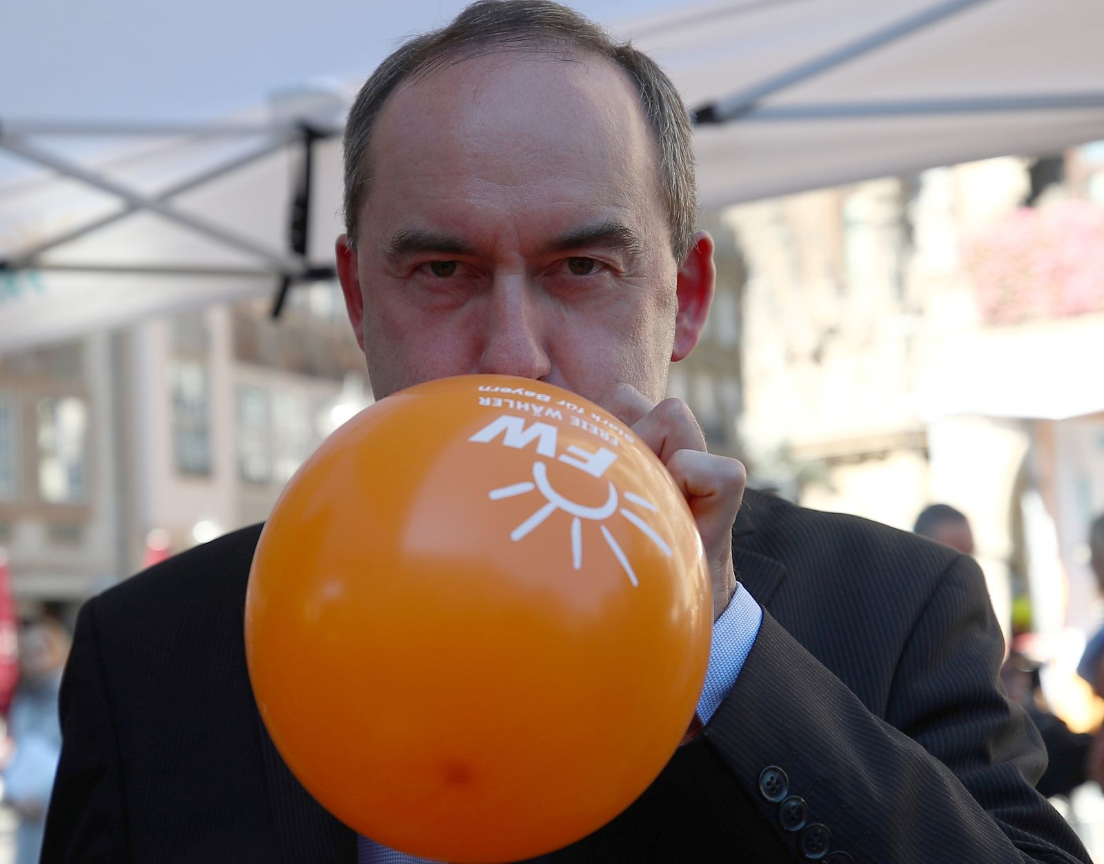 Aiwanger, top candidate of Bavaria's Freie Waehler (Free Voters) party, attends an election campaign rally in Munich