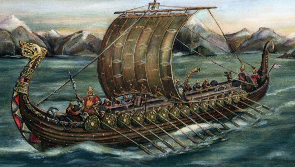 Zeichnung eines Wikingerschiffs: Rückzug aus dem Norden