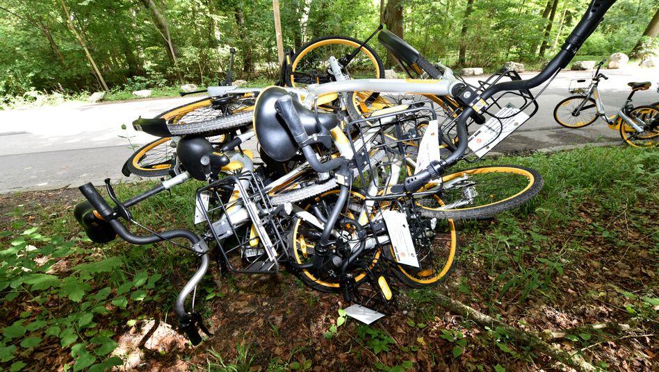 Beschädigte Mietfahrräder in München