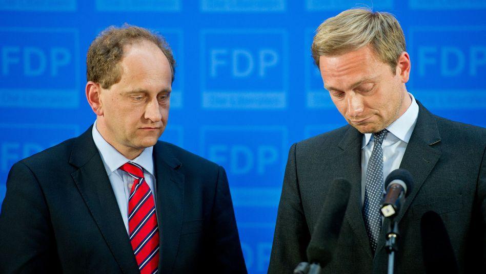 FDP-Spitzenkandidat Lambsdorff, Vorsitzender Lindner: Trister Wahlabend