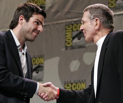 Junger und alter Spock: Zachary Quinto und Leonard Nimoy in San Diego