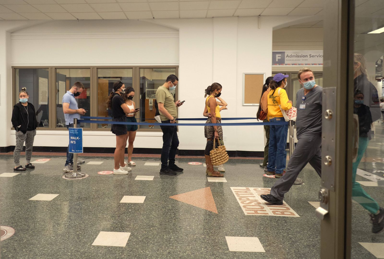 August 2, 2021, Brooklyn, New York, USA: Bellevue Hospital employees wait on line to receive vaccine on the first day o