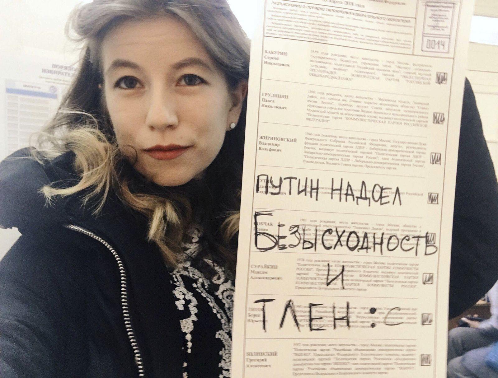 Präsidentenwahl in Russland/ Wahlbetrug/ Aktivistin