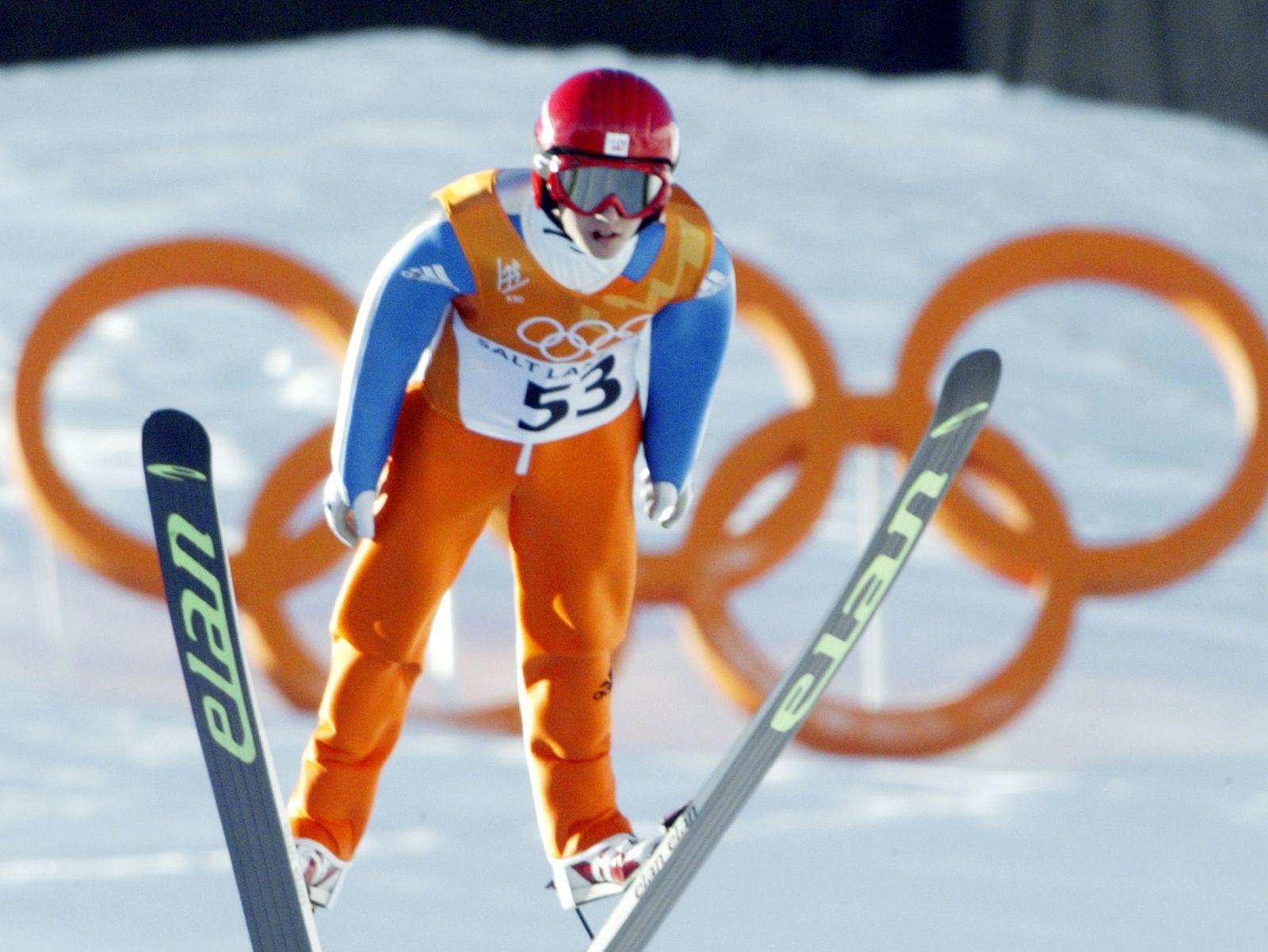 Swiss Simon Ammann is airborne during the individu