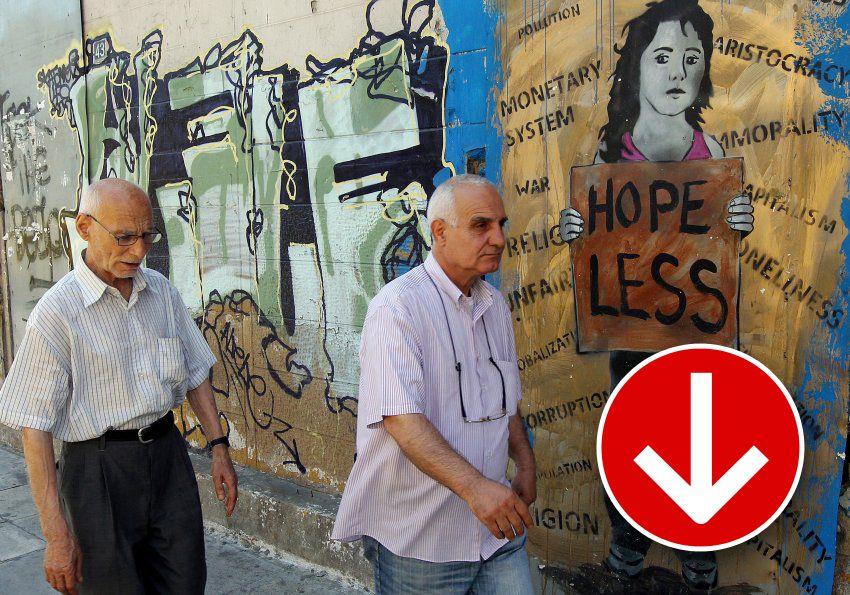 Grafik Finanzkrise Griechenland Pfeil runter v2