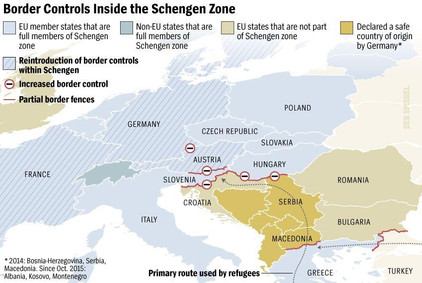 Graphic: Border Controls Inside the Schengen Zone - DER SPIEGEL 4/2016, Seite 23