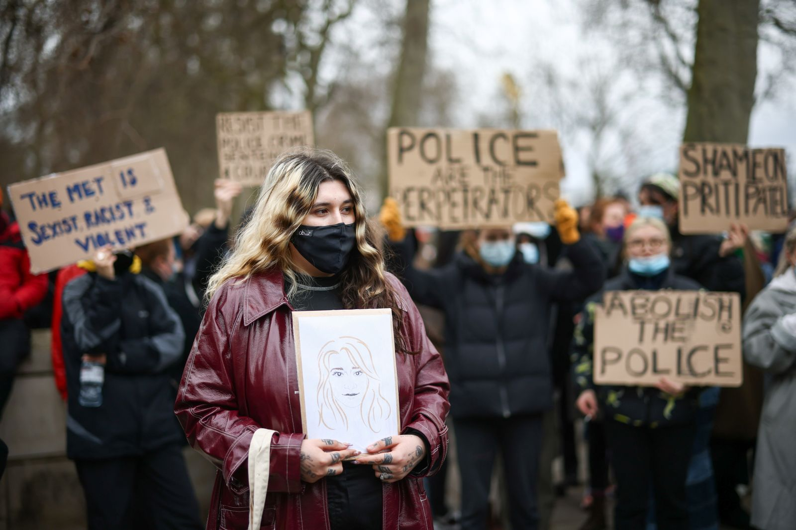 Protest outside New Scotland Yard police headquarters in London