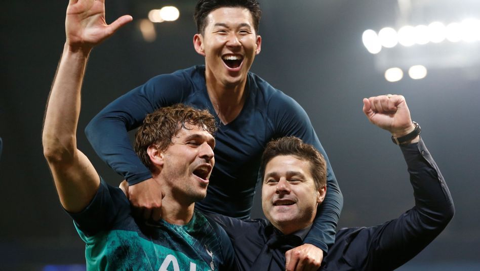 Tottenham-Coach Mauricio Pochettino (rechts), Fernando Llorente und Heung-min Son (oben)