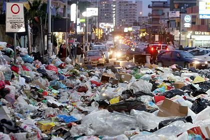 Garbage in Naples has been piling up for weeks.