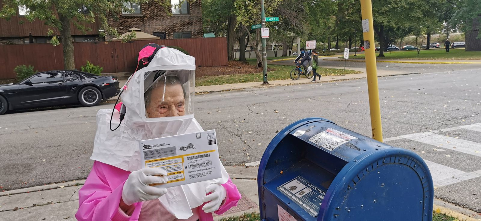 Beatrice Lumpkin, 102-year-old former teacher, casts her vote-by-mail ballot in Chicago