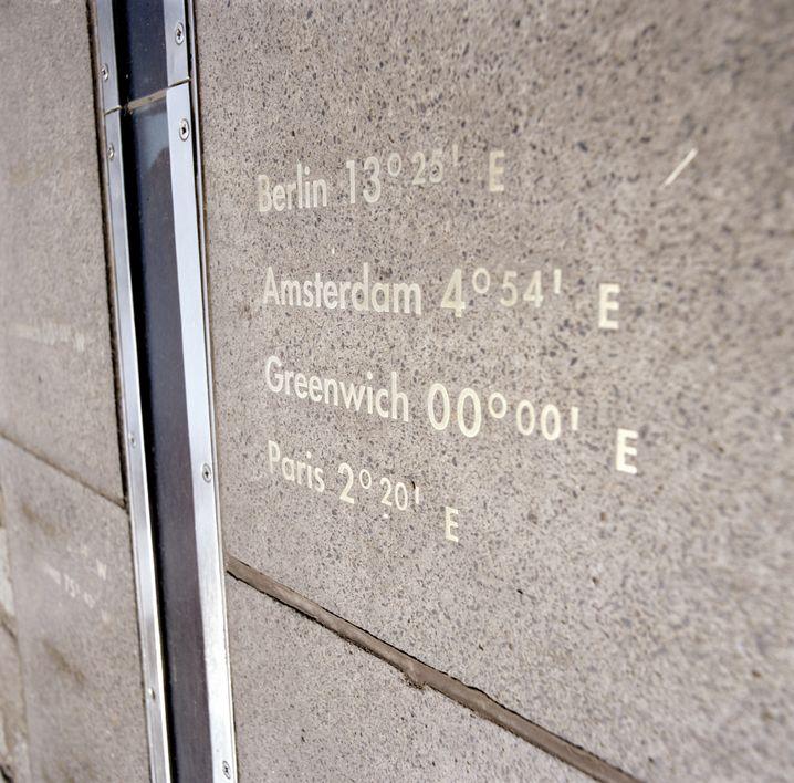 Linie in Greenwich, England: Der Nullmeridian