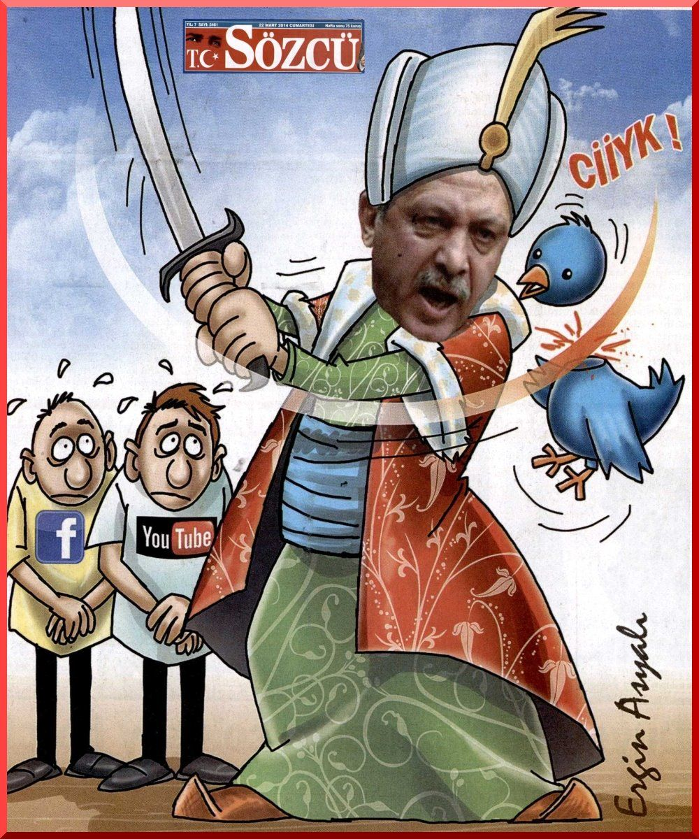 EINMALIGE VERWENDUNG Karikatur Erdogan/ Twitter/ Cover Sözcü