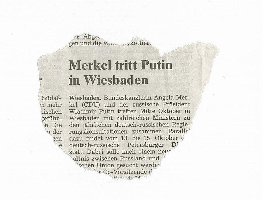 EINMALIGE VERWENDUNG Zwiebelfischchen / Merkel tritt Putin