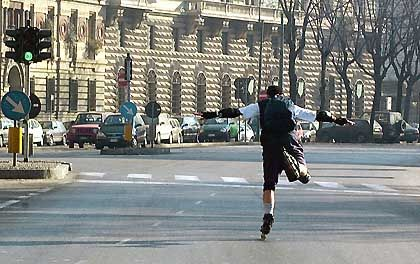 Im Verkehr umstritten: Inline-Skater