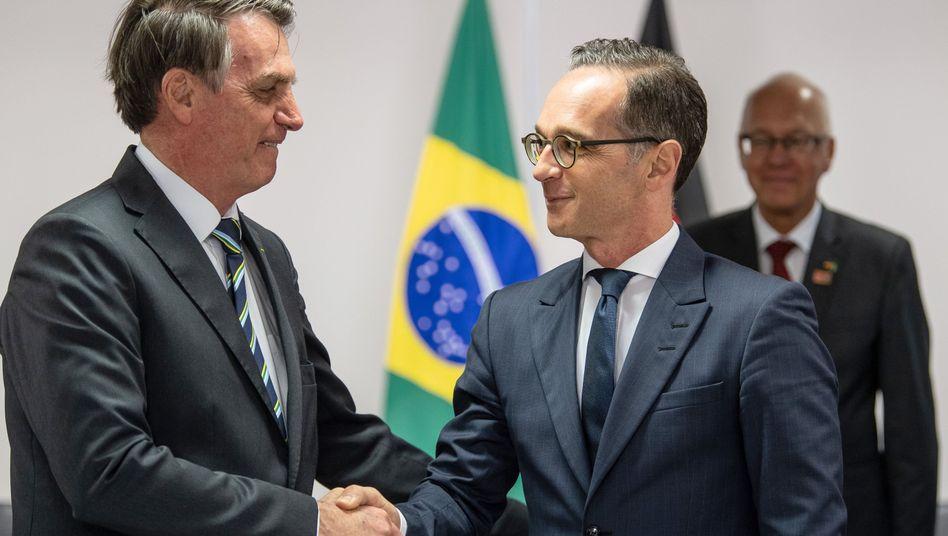 Heiko Maas (r.), Jair Bolsonaro: Die Atmosphäre war eher kühl
