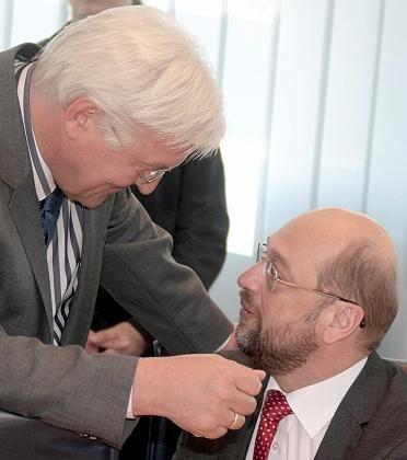 """Frank-Walter Steinmeier, Martin Schulz: """"Der schwarze Balken kommt unten raus"""""""
