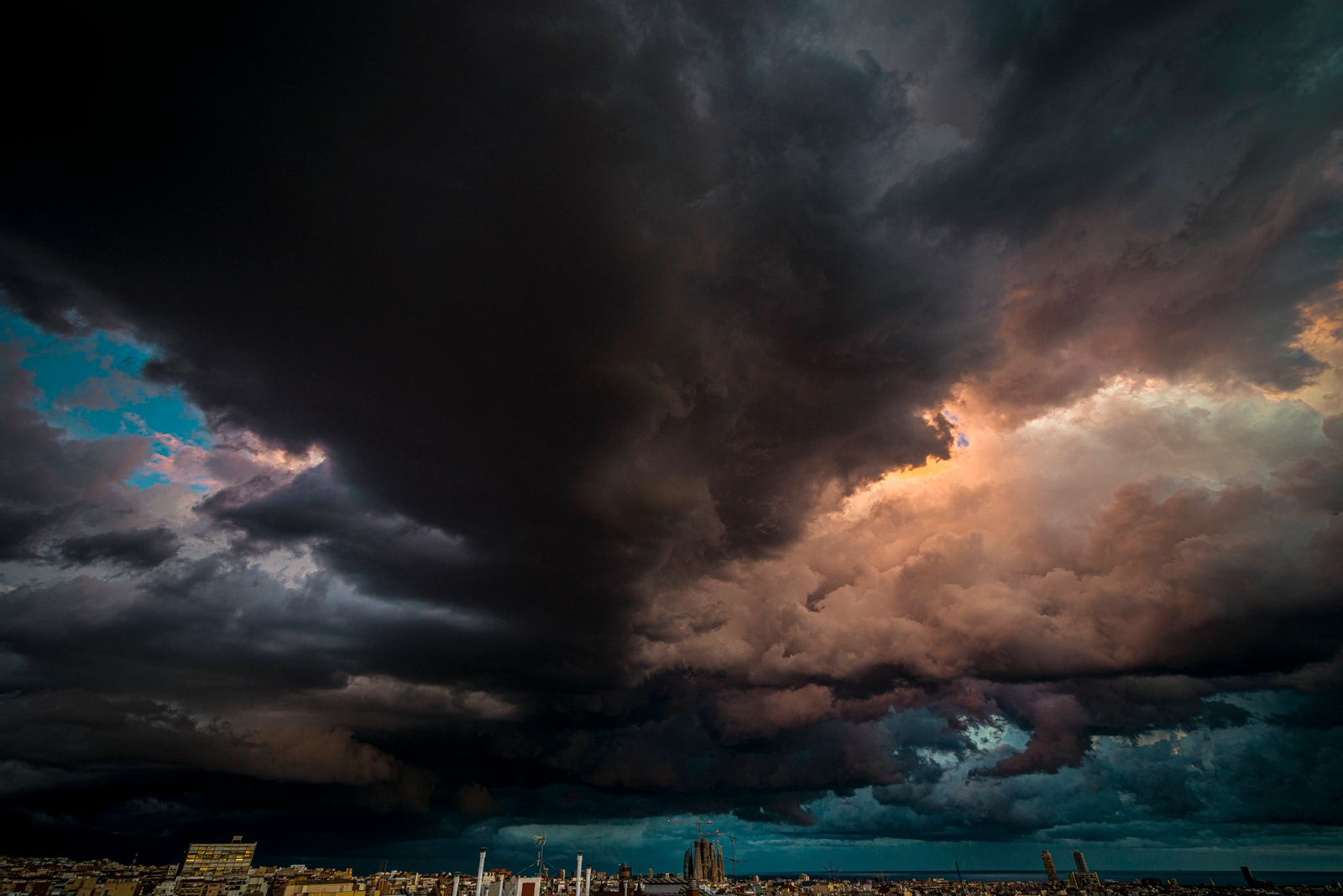 October 14, 2020, Barcelona, Catalonia, Spain: A dramatic cloudy evening sky is seen over Barcelona announcing possibly