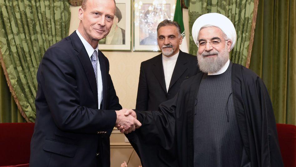 Airbus-Chef Enders, Iranischer Präsident Rohani: Mega-Deal