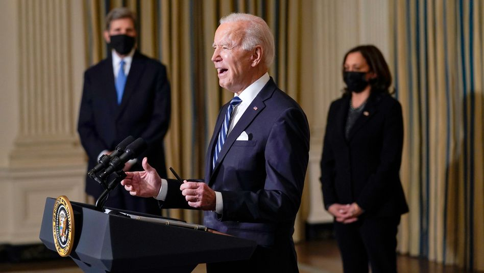 US-Präsident Joe Biden hält im Weißen Haus eine Rede über den Klimawandel