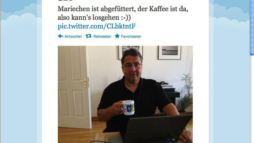 Screenshot: Sigmar Gabriel beim Twittern