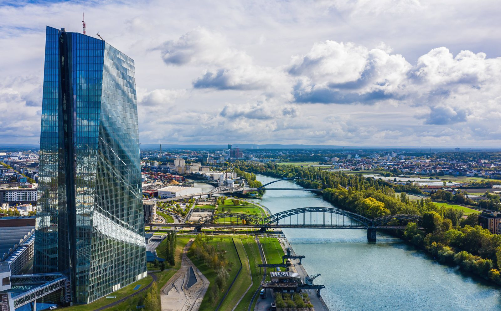 Aerial View of the ECB with the river Main in Frankfurt European Central Bank in Frankfurt a. Main, Germany