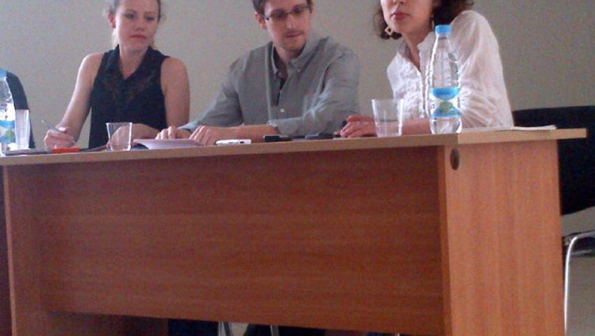 Snowden during a press conference at Moscow's international airport on July 12.