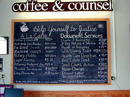 """Café-Menü: """"Help yourself to justice"""""""