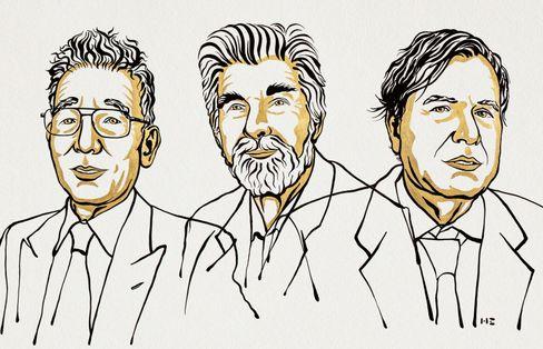 Nobelpreisträger Manabe, Hasselmann und Parisi (v.l.)