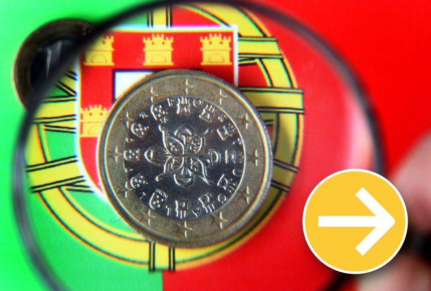 Finanzkrise Portugal Symbol Pfeil gerade