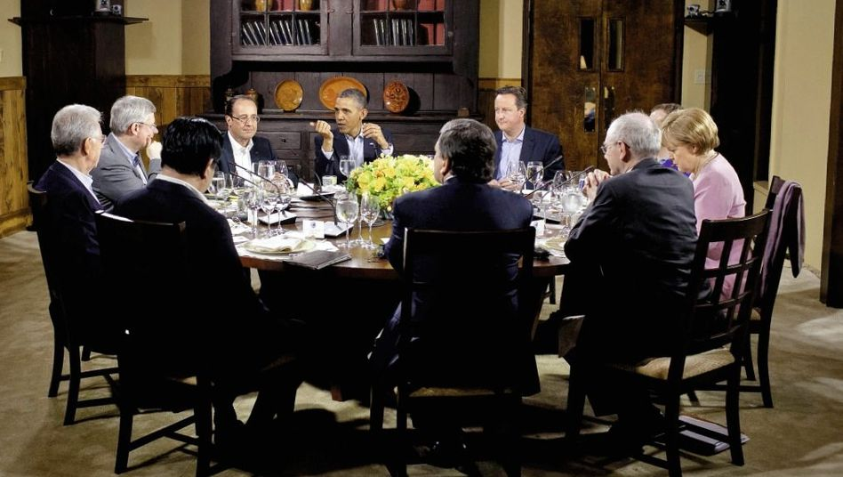 Staats- und Regierungschefs beim G-8-Gipfel am 18. Mai in Camp David: Rund zwei Drittel der Bundesbürger sind dagegen, dass ihr Land weitere Risiken übernimmt