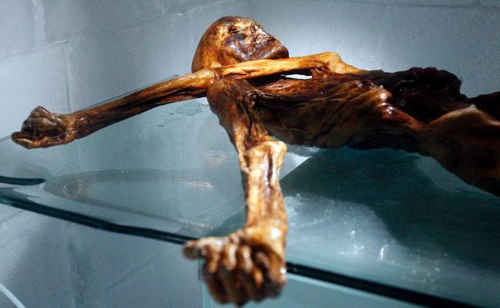 Ötzi-Mumie im Archäologischen Museum in Bozen