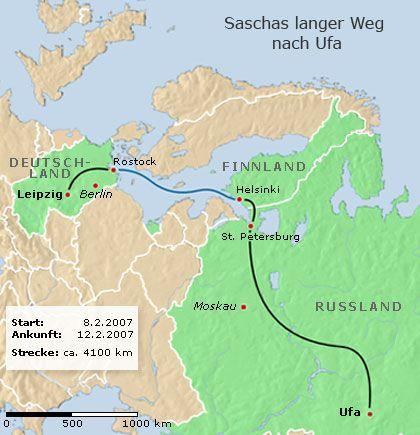 Langer Ritt: Saschas Route von Leipzig bis in die Hauptstadt der russischen Republik Baschkortostan