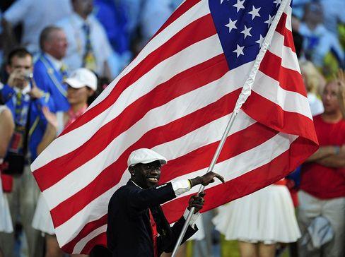 Lopez Lomong, flag-bearer of the US Olympic team.