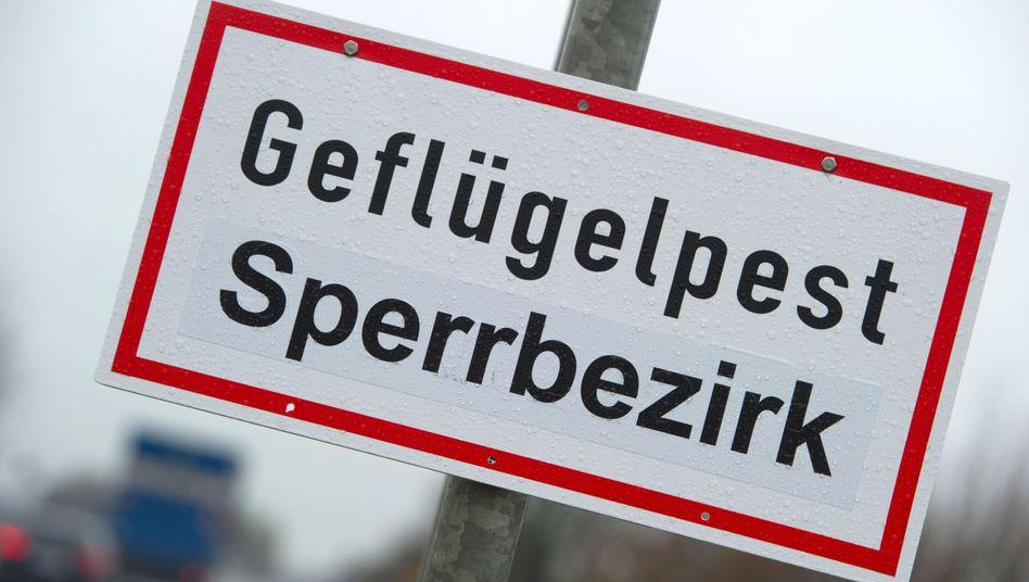 Warnschild in Greifswald in Mecklenburg-Vorpommern (Archiv)