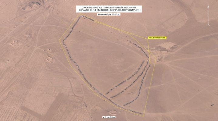 Fahrzeuge in der Wüste: Nach russischen Angaben soll es sich um 390 Tank-Lastwagen handeln
