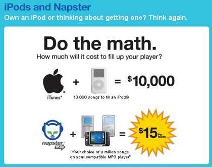 Anti-iTunes-Werbung von Napster: Können Sie rechnen?