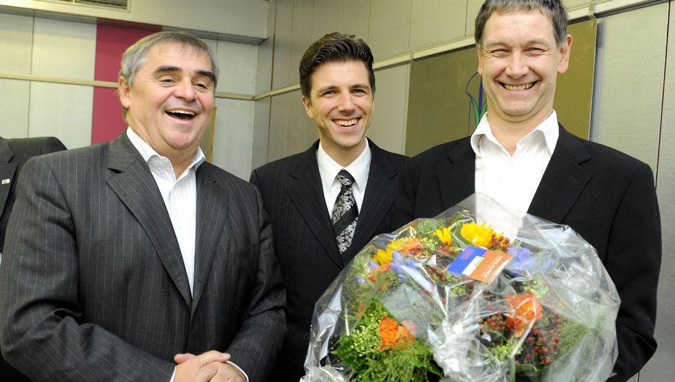 Koalitionäre Müller (CDU), Hartmann (FDP), Ulrich (Grüne): Premiere für Jamaika
