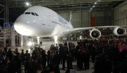 The birth of a giant: The A380 on Tuesday at the Airbus assembly plant in Blagnac, France, just after its official introduction.