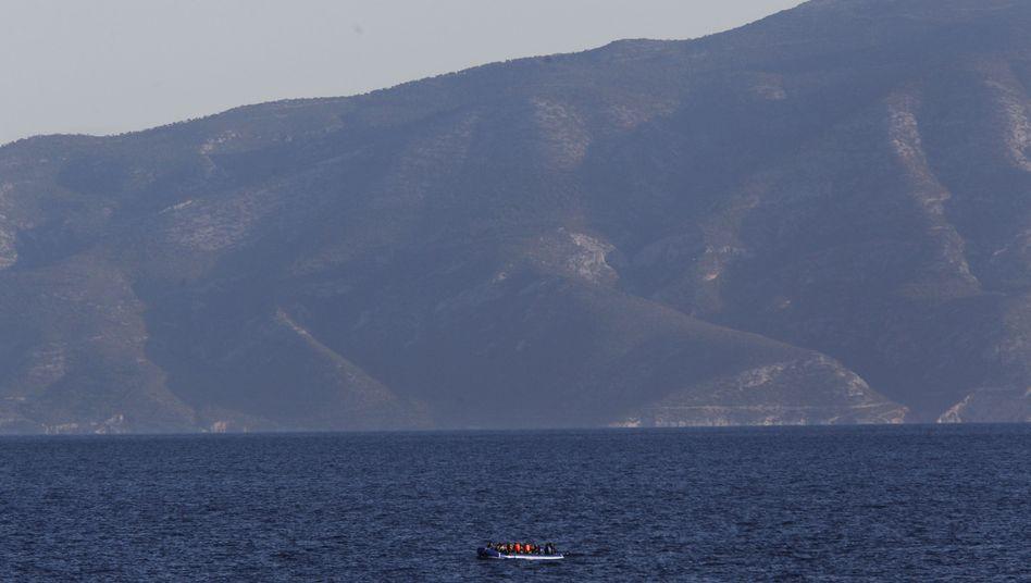 Flüchtlingsboot zwischen der Türkei und Agathonisi