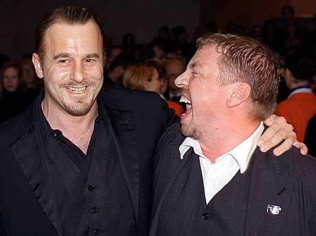 Amüsierten sich trotzdem: Premierengäste Heino Ferch (l.) und Armin Rohde