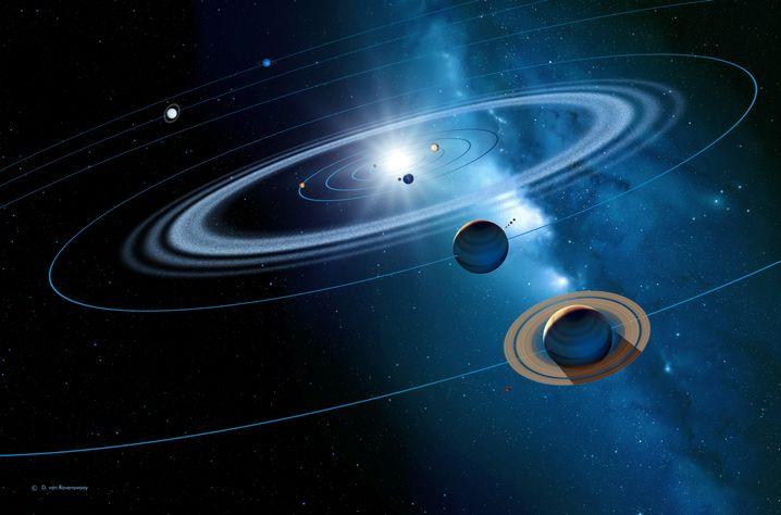 Sonnensystem: Erde (mit Mond vor Sonne im Zentrum) und Mars (roter Punkt links im benachbarten Orbit) stehen nur alle 26 Monate in einer günstigen Konstellation zueinander.