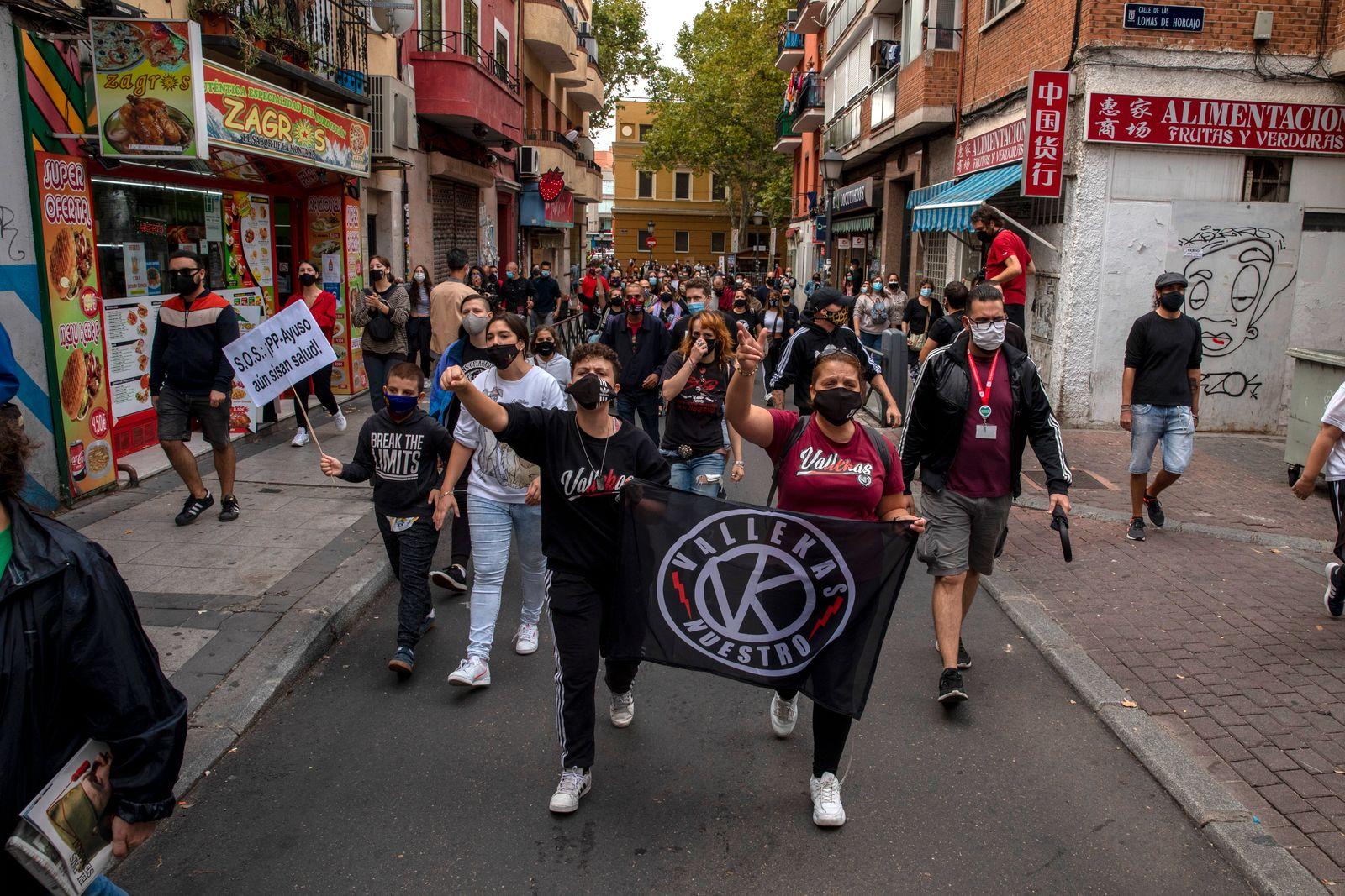 Madrid's Vallecas Neighborhood Protests Lockdown Measures