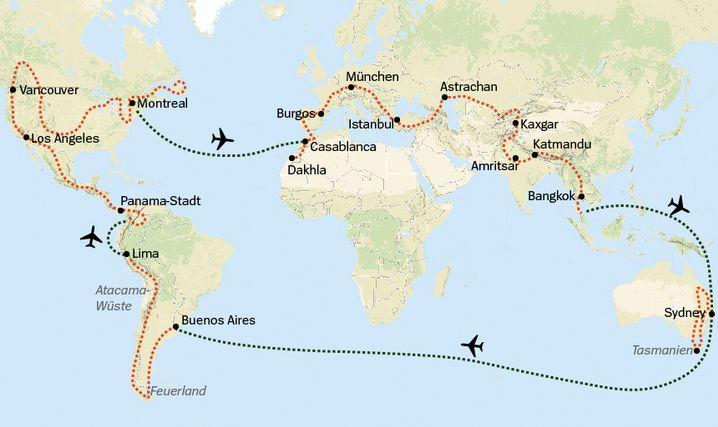 Reiseroute in Auszügen (nicht maßstabsgetreu)