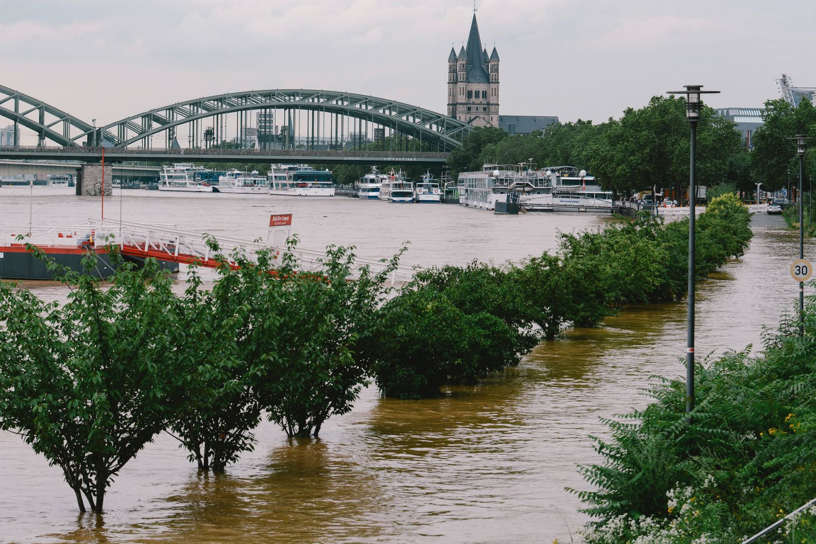NRW, Hochwasser am Rhein in Köln Flood In Cologne Continues flooding scene is seen from Rhine river in Cologne, Germany